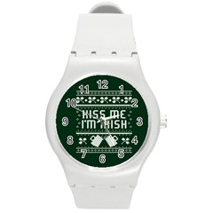 Kiss Me I m Irish Ugly Christmas Green Background Round Plastic Sport Watch (m)