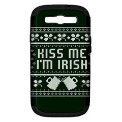 Kiss Me I m Irish Ugly Christmas Green Background Samsung Galaxy S Iii Hardshell Case (pc+silicone)