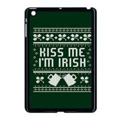 Kiss Me I m Irish Ugly Christmas Green Background Apple iPad Mini Case (Black)