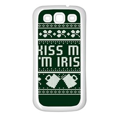 Kiss Me I m Irish Ugly Christmas Green Background Samsung Galaxy S3 Back Case (White)