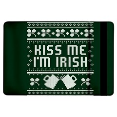 Kiss Me I m Irish Ugly Christmas Green Background iPad Air Flip