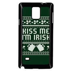 Kiss Me I m Irish Ugly Christmas Green Background Samsung Galaxy Note 4 Case (black)