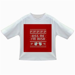 Kiss Me I m Irish Ugly Christmas Red Background Infant/Toddler T-Shirts