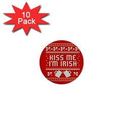 Kiss Me I m Irish Ugly Christmas Red Background 1  Mini Buttons (10 pack)