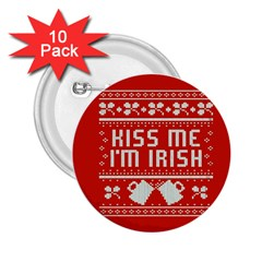 Kiss Me I m Irish Ugly Christmas Red Background 2.25  Buttons (10 pack)