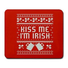 Kiss Me I m Irish Ugly Christmas Red Background Large Mousepads