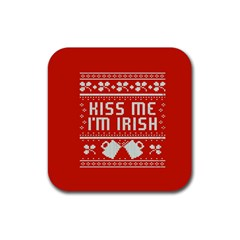 Kiss Me I m Irish Ugly Christmas Red Background Rubber Coaster (Square)