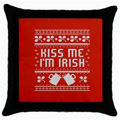 Kiss Me I m Irish Ugly Christmas Red Background Throw Pillow Case (Black)