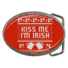 Kiss Me I m Irish Ugly Christmas Red Background Belt Buckles