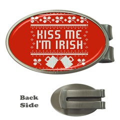 Kiss Me I m Irish Ugly Christmas Red Background Money Clips (oval)