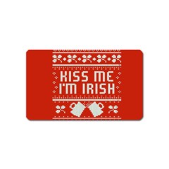 Kiss Me I m Irish Ugly Christmas Red Background Magnet (Name Card)