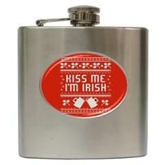 Kiss Me I m Irish Ugly Christmas Red Background Hip Flask (6 Oz)