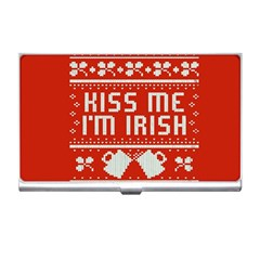 Kiss Me I m Irish Ugly Christmas Red Background Business Card Holders