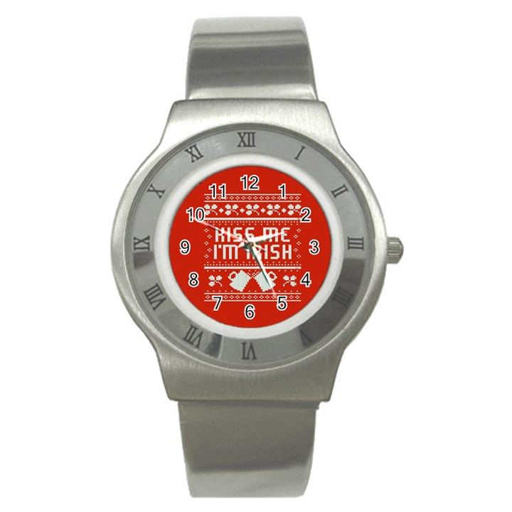 Kiss Me I m Irish Ugly Christmas Red Background Stainless Steel Watch