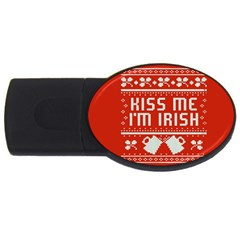 Kiss Me I m Irish Ugly Christmas Red Background Usb Flash Drive Oval (4 Gb)