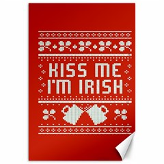 Kiss Me I m Irish Ugly Christmas Red Background Canvas 20  X 30