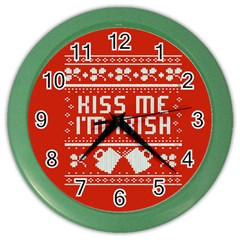 Kiss Me I m Irish Ugly Christmas Red Background Color Wall Clocks