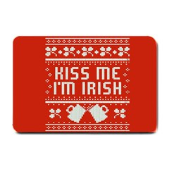 Kiss Me I m Irish Ugly Christmas Red Background Small Doormat