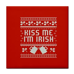 Kiss Me I m Irish Ugly Christmas Red Background Face Towel