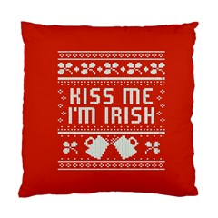 Kiss Me I m Irish Ugly Christmas Red Background Standard Cushion Case (two Sides)