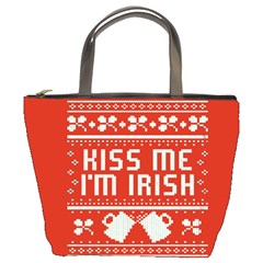Kiss Me I m Irish Ugly Christmas Red Background Bucket Bags