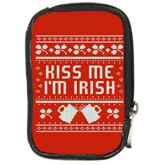 Kiss Me I m Irish Ugly Christmas Red Background Compact Camera Cases