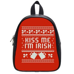 Kiss Me I m Irish Ugly Christmas Red Background School Bags (Small)