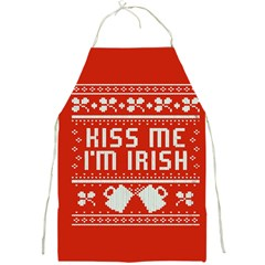 Kiss Me I m Irish Ugly Christmas Red Background Full Print Aprons