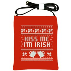 Kiss Me I m Irish Ugly Christmas Red Background Shoulder Sling Bags