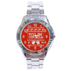 Kiss Me I m Irish Ugly Christmas Red Background Stainless Steel Analogue Watch