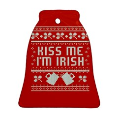 Kiss Me I m Irish Ugly Christmas Red Background Ornament (bell)