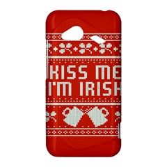 Kiss Me I m Irish Ugly Christmas Red Background HTC Droid Incredible 4G LTE Hardshell Case