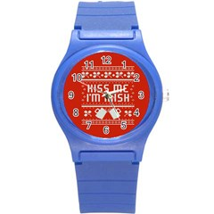 Kiss Me I m Irish Ugly Christmas Red Background Round Plastic Sport Watch (S)