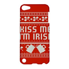 Kiss Me I m Irish Ugly Christmas Red Background Apple Ipod Touch 5 Hardshell Case