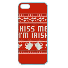 Kiss Me I m Irish Ugly Christmas Red Background Apple Seamless iPhone 5 Case (Color)
