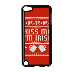 Kiss Me I m Irish Ugly Christmas Red Background Apple Ipod Touch 5 Case (black)
