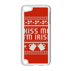 Kiss Me I m Irish Ugly Christmas Red Background Apple Ipod Touch 5 Case (white)