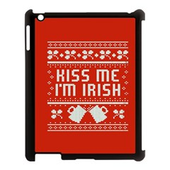 Kiss Me I m Irish Ugly Christmas Red Background Apple iPad 3/4 Case (Black)