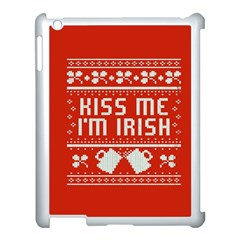 Kiss Me I m Irish Ugly Christmas Red Background Apple iPad 3/4 Case (White)