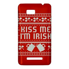 Kiss Me I m Irish Ugly Christmas Red Background HTC One SU T528W Hardshell Case