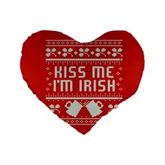 Kiss Me I m Irish Ugly Christmas Red Background Standard 16  Premium Heart Shape Cushions