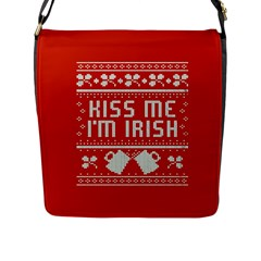 Kiss Me I m Irish Ugly Christmas Red Background Flap Messenger Bag (L)