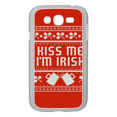 Kiss Me I m Irish Ugly Christmas Red Background Samsung Galaxy Grand Duos I9082 Case (white)