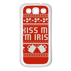 Kiss Me I m Irish Ugly Christmas Red Background Samsung Galaxy S3 Back Case (White)