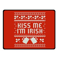 Kiss Me I m Irish Ugly Christmas Red Background Double Sided Fleece Blanket (small)