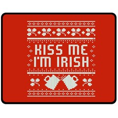 Kiss Me I m Irish Ugly Christmas Red Background Double Sided Fleece Blanket (medium)