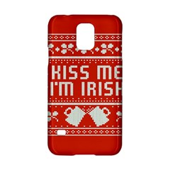 Kiss Me I m Irish Ugly Christmas Red Background Samsung Galaxy S5 Hardshell Case