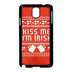 Kiss Me I m Irish Ugly Christmas Red Background Samsung Galaxy Note 3 Neo Hardshell Case (black)