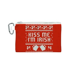 Kiss Me I m Irish Ugly Christmas Red Background Canvas Cosmetic Bag (S)
