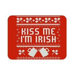 Kiss Me I m Irish Ugly Christmas Red Background Double Sided Flano Blanket (Mini)